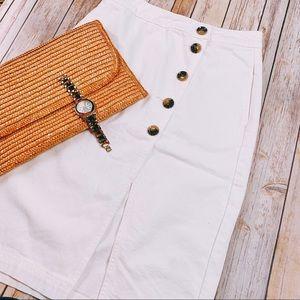 {TOPSHOP} NWT White Midi Denim Skirt Buttons